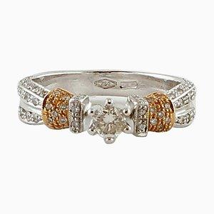 Bague de fiançailles en or blanc et rose 18 carats et diamants