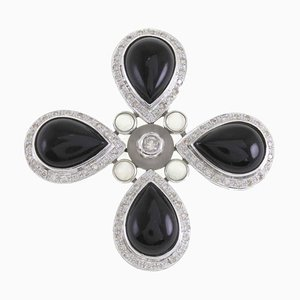 Onyx Bergkristall Diamant Vier Tropfen Gold Anhänger