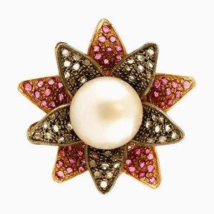 Großer Perlenblumenring mit Diamanten, Rubinen, 14 Karat Roségold und Silber