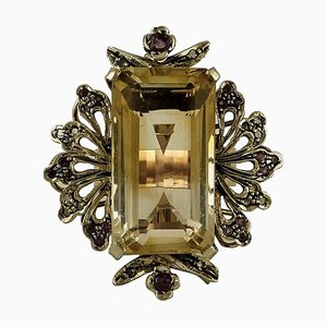 Yellow Topaz, Diamond, Ruby, 9 Karat Rose Gold and Silver Ring