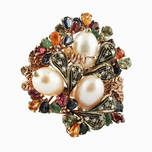 Ring with Diamonds, Rubies, Emeralds, Multi-Colored Sapphires, Pearls, Rose Gold and Silver