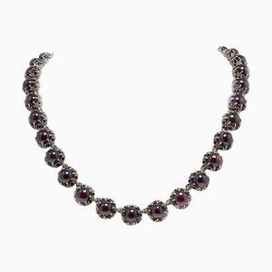 Garnet, 14K Rose Gold and Silver Link Necklace
