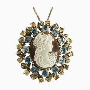 Pendentif/Broche Camée, Topazes Bleues et Jaunes, Diamant, Or 9 Carats et Argent