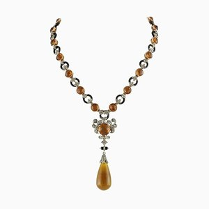 Hydrothermal Topaz, Onyx, Emerald, Diamond, Rose Gold and Silver Necklace