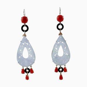 Boucles d'Oreilles Coraux Rouges, Diamants, Onyx, Pierres, Or Blanc et Rose 14 Carats, Set de 2