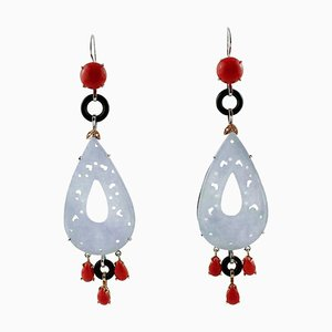 Red Corals, Diamonds, Onyx, Stones, 14 Karat White and Rose Gold Dangle Earrings, Set of 2