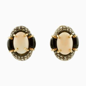 Orecchini a clip ovali in corallo rosa, diamanti, onice, oro rosa 14K e argento, set di 2