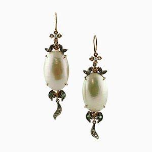 Boucles d'Oreilles Diamants, Émeraudes, Perles, Or Rose et Argent, Set de 2