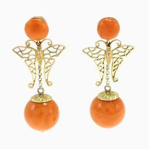 Boucles d'Oreilles en Or Jaune 14K, Sphères de Corail Orange, Diamants, Set de 2