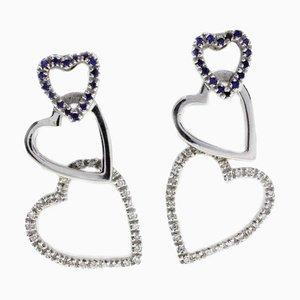 Orecchini a forma di cuore in oro bianco, 18 carati e diamanti, set di 2