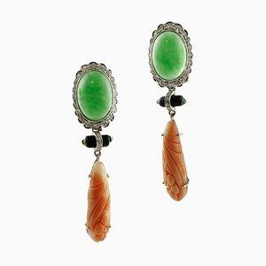 Boucles d'Oreilles Diamants, Émeraudes, Onyx, Jade, Corail Orange et Or 14k, Set de 2