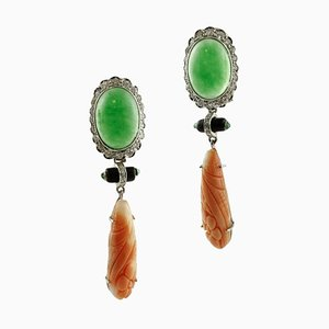 Diamonds, Emeralds, Onyx, Jade, Orange Engraved Coral and 14k Gold Earrings, Set of 2