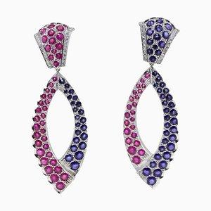 Boucles d'Oreilles Artisanales en Or Diamant, Saphir, Rubis et Or 14K, Set de 2