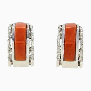 Boucles d'Oreilles Diamants Blancs, Corail Rouge et Or Blanc 14K, Set de 2
