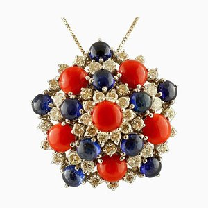 Handcrafted Pendant with White Diamonds, Blue Sapphires, Red Coral & White Gold