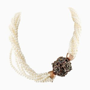 Handgefertigte Halskette mit mehrfarbigen Saphiren, Perlen, Roségold & Silber