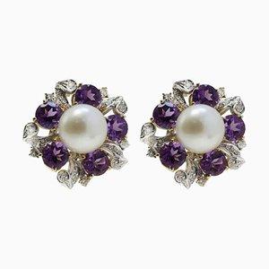 Boucles d'Oreilles Artisanales en Or Rose et Or Blanc, Diamants et Perle, Set de 2