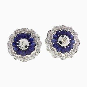 Antike handgefertigte Blumenohrringe mit Diamanten & blauem Saphir, 2er Set