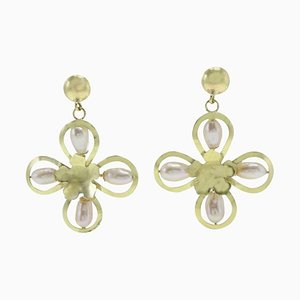 Handcrafted Pearl and Yellow Gold Flower Earrings, Set of 2