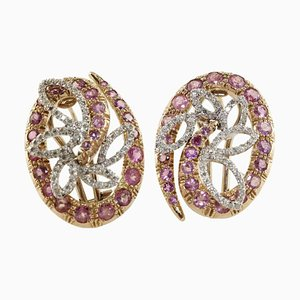 Tourmalines, Diamonds and Rose Gold Earrings, Set of 2