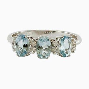 Aquamarine, Diamond & 18 Karat White Gold Ring