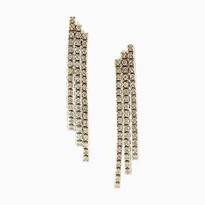 Orecchini pendenti fatti a mano con diamanti e oro bianco a 14 carati, set di 2