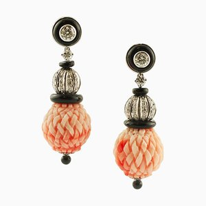 Handcrafted Dangle Engraved Red Coral Spheres, Diamonds, Black Agate and White Gold Earrings, Set of 2