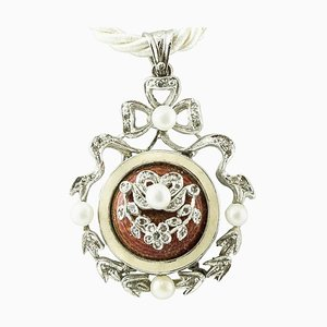 Handcrafted Pendant with Diamonds, Pearls, Hard Stone & 14 Karat White Gold