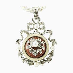 Pendentif Artisanal avec Diamants, Perles, Pierres Dures et Or Blanc 14 Carat
