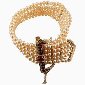 Antikes handgefertigtes Perlenarmband mit Diamanten, Rubinen, Rosenperlen & Roségold