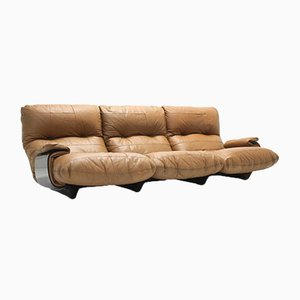 Leder Marsala Sofa von Michel Ducaroy für Ligne Roset