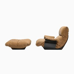 Leather Marsala Armchair & Ottoman by Michel Ducaroy for Ligne Roset, Set of 2