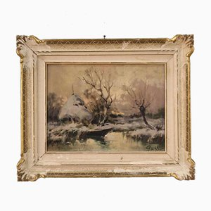 French Painting of Snowy Landscape