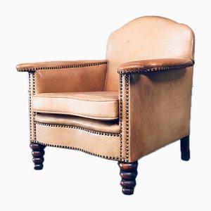 Cognac Leather Club Armchair, 1940s