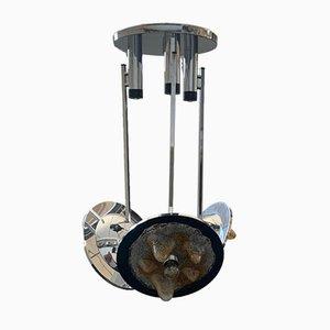 Lampadario in acciaio e vetro policromo a 3 luci di Carlo Nason per Mazzega