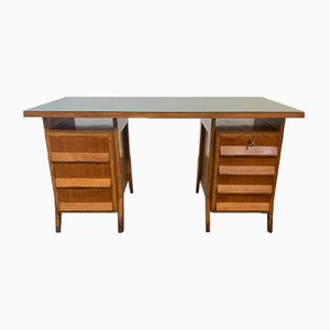 Eichenholz Schreibtisch mit Grüner Glasplatte, 1950er