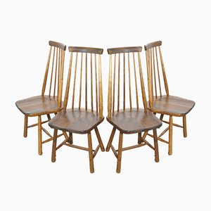Scandinavian Ash Bar Chairs with High Back, 1970s, Set of 4
