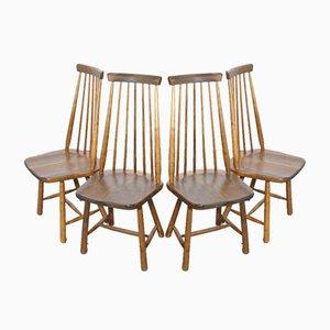 Skandinavische Eschenholz Barstühle mit Hoher Rückenlehne, 1970er, 4er Set