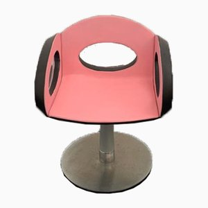 Space Age Armchair in Pink and Black Leather with Steel Structure