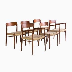 Modell 56 und Modell 75 Esszimmerstühle aus Teak & Papierkordel von Niels Moller für JL Møllers, 1960er, 6er Set