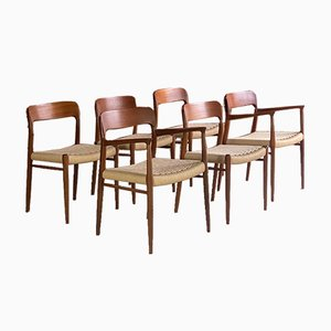 Teak and Papercord Model 56 and Model 75 Dining Chairs by Niels Moller for J. L. Møllers, 1960s, Set of 6
