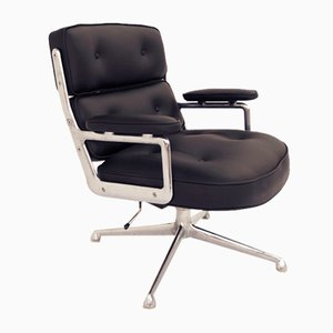Black Leather ES 104 Swivel Lobby Chair by Charles & Ray Eames for Herman Miller, 1960