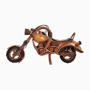 Handgefertigtes Harley Davidson Motorrad aus Holz, 1950er