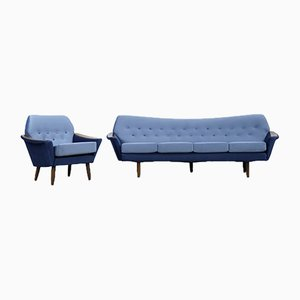 Modernist Scandinavian Velvet Living Room Set by Holm Fabriker AB, 1960s, Set of 2