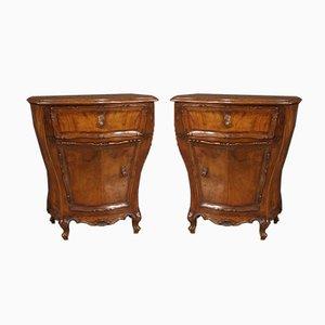 Venetian Bedside Tables in Walnut, Burl and Beech, Set of 2