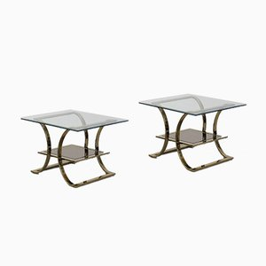 Vintage Italian Glass Coffee Tables with Gold-Colored Bases, 1960s, Set of 2