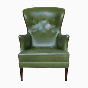 Wingback Easy Chair with Provenance in Green Leather by Frits Henningsen, Denmark, 1950s
