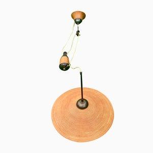Lámpara colgante de contrapeso de bambú y ratán