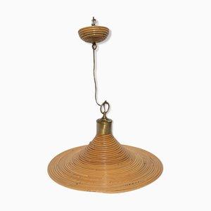 Pencil Reed Rattan Wicker Bamboo Pendant Lamp, Italy, 1970s