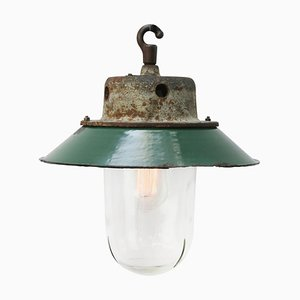 Vintage Industrial Petrol Enamel, Cast Iron and Clear Glass Pendant Light